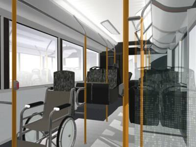 Computergrafik eines Businnenraums mit Stellplatz für Rollstuhl.