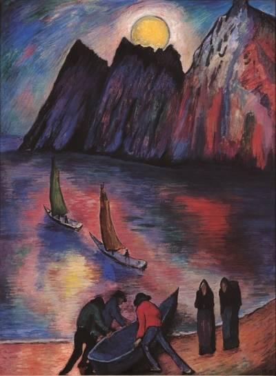 Gemälde einer Strandszene: Drei Männer bringen ein Ruderboot ziehen ins Wasser, beobachtet von zwei Frauen. Dahinter sind zwei Segelboote im Meer zu sehen.