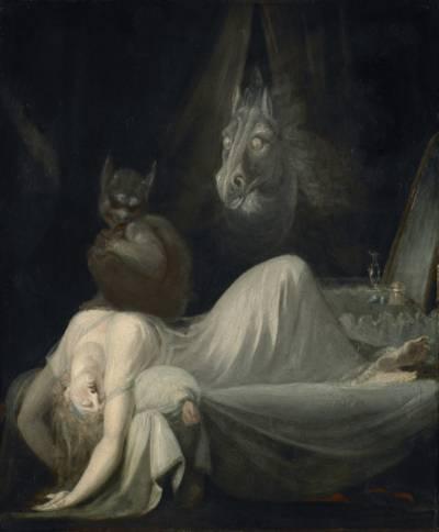 Gemälde einer schlafenden Frau, auf der ein Kobold sitzt.