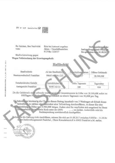 Gefälschter Haftbefehl mit dem Aufdruck FÄLSCHUNG