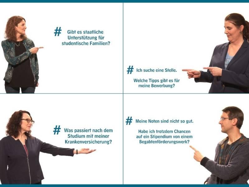 Collage: Drei Frauen und ein Mann zeigen auf Texte.