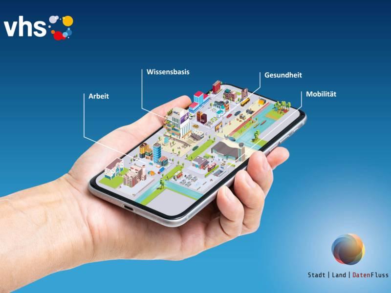 """Eine Bildcollage, die eine Hand mit einem Smartphone zeigt. Drumherum stehen die Wörter """"Arbeit"""", """"Wissensbasis"""", """"Gesundheit"""", """"Mobilität""""."""