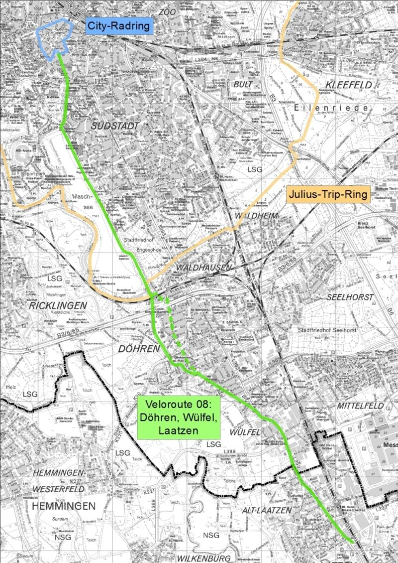 Der Ausschnitt einer Karte, der zeigt wie die Veloroute 8 die ca. 7,0 km lange Route verbindet die City mit den Stadtteilen Mitte, Südstadt, Waldhausen, Döhren und Wülfel verbindet.