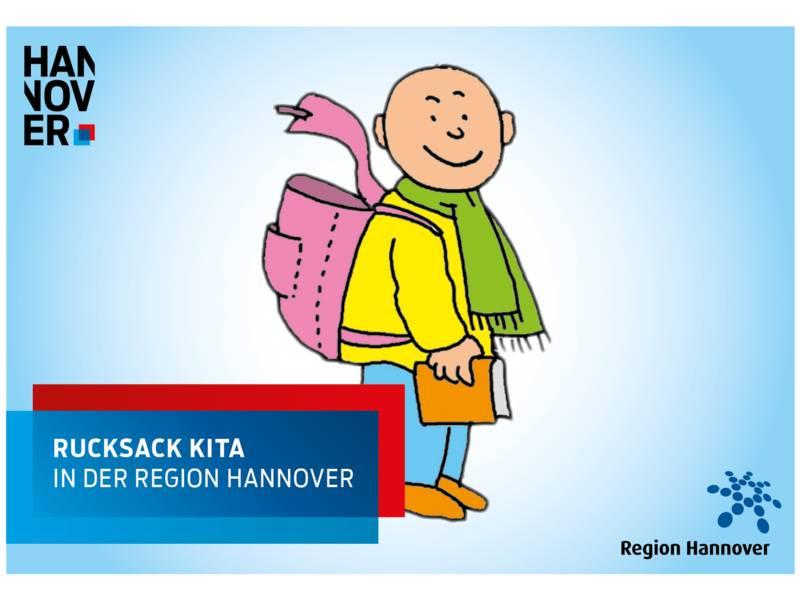 """Zeichung mit einem Kind, das einen Rucksack trägt, Logos und dem Text """"Rucksack Kita in der Region Hannover"""""""