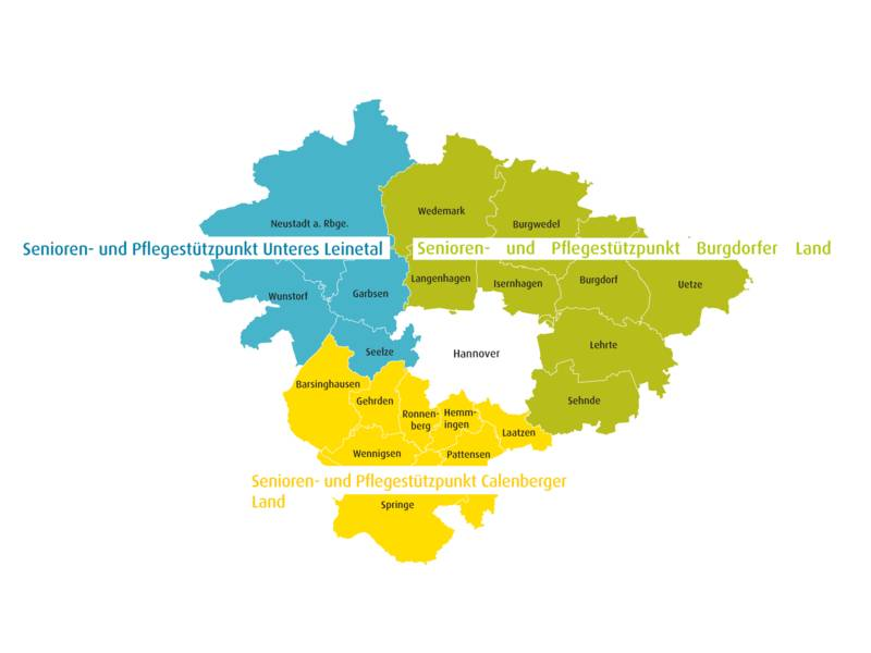 Karte mit dem Gebiet der Region Hannover, Farben verdeutlichen, wie die Kommunen den Zuständigkeitsbereichen der Senioren- und Pflegestützpunkte zugeordnet sind.