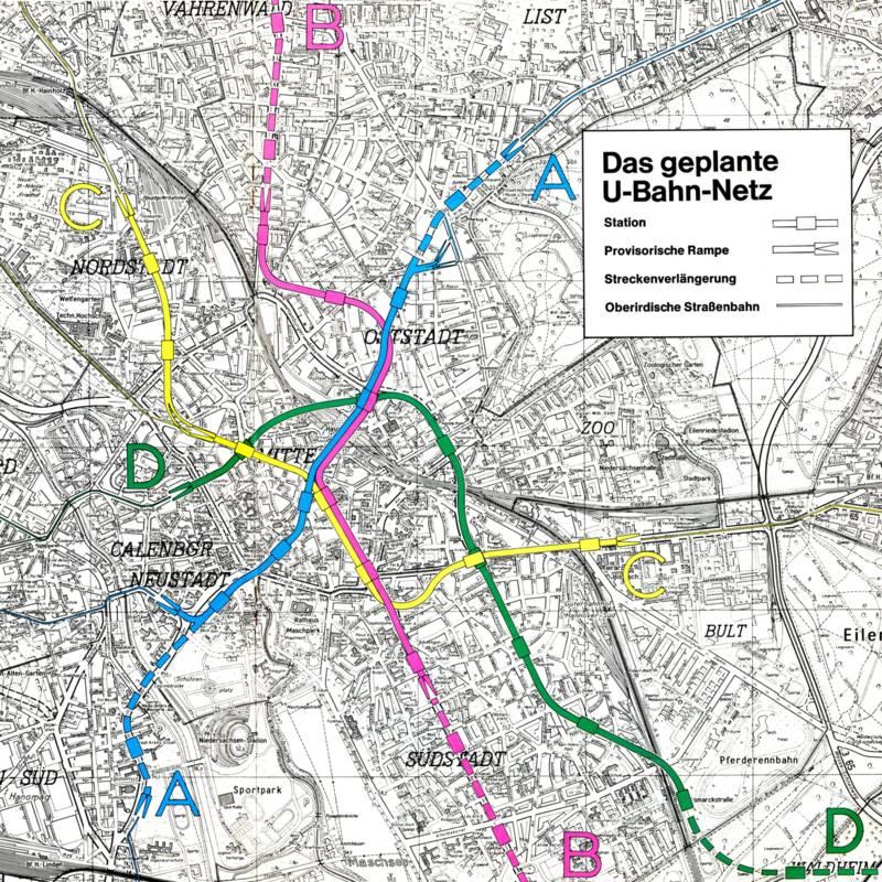 Der Plan des U-Bahn-Netzes aus dem Jahr 1967