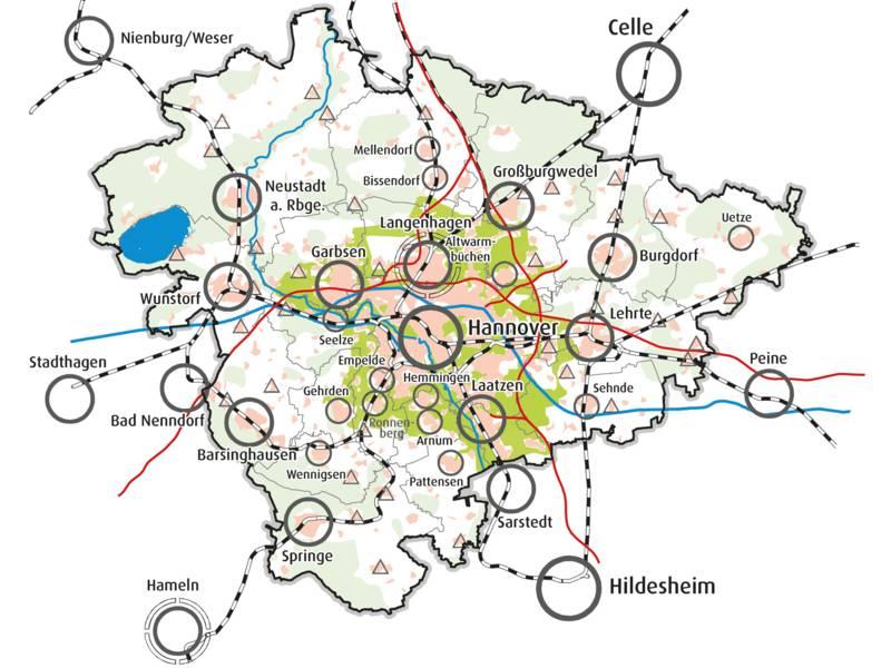 Schemakarte der Region Hannover mit markierten Zentren
