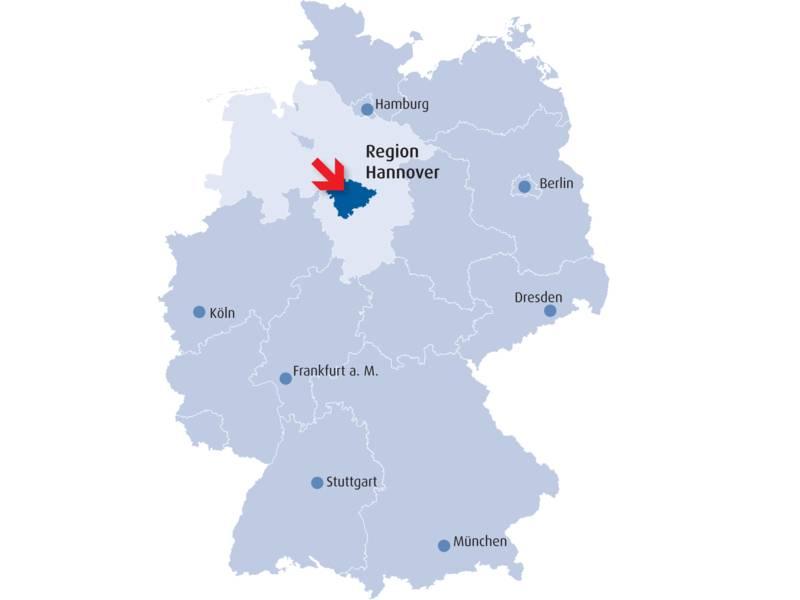 Die Region Hannover liegt zentral in Deutschland. Sie ist ca. 285 Kilometer von Berlin, 150 Kilometer von Hamburg, 630 Kilometer von München und 300 Kilometer von Köln entfernt.