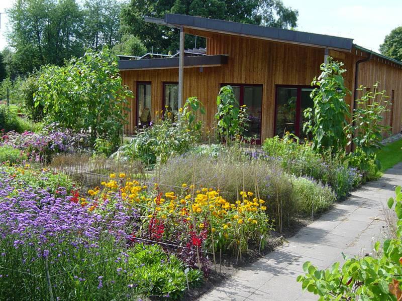 Blühende Beete vor dem Holzgebäude des Bienenhauses