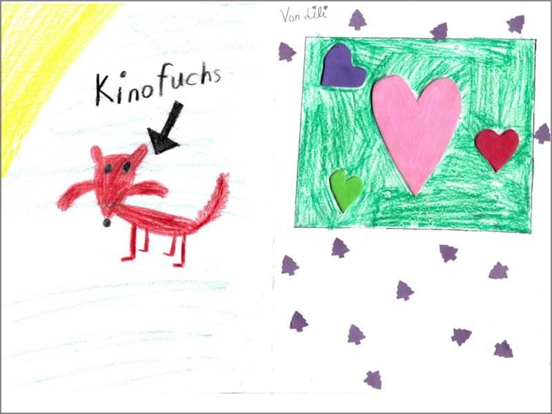 Lili hat links den Kinofuchs gemalt und rechts vier Herzen umrahmt von gestempelten Tannenbäumen