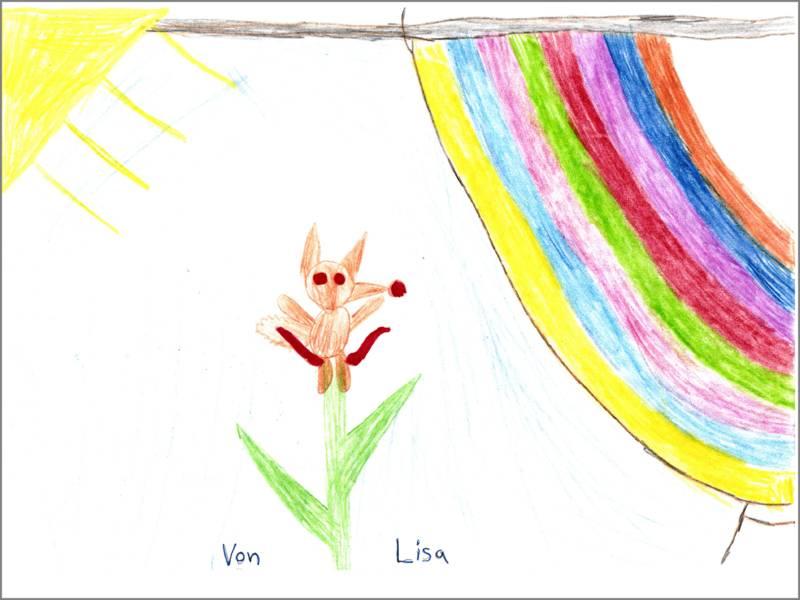 Lisa hat eine Sonne, ein Eichhörnchen auf einer Pflanze sitzend und einen Regenbogen gemalt.