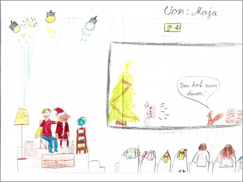 auf Majas Bild ist im Kinosaal und auf der Leinwand Weihnachten