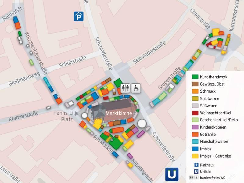 Auf dem Kartenausschnitt sind Stände in verschiedenen Farben eingezeichnet, die rund um die Marktkirche, in der Knochenhauserstraße, in der Grupenstraße und am Platz der Weltausstellung stehen. Die verschiedenen Farben stehen für die unterschiedlichen Angebote - z. B. grün für Kunsthandwerk und gelb für Imbiss und Getränke.