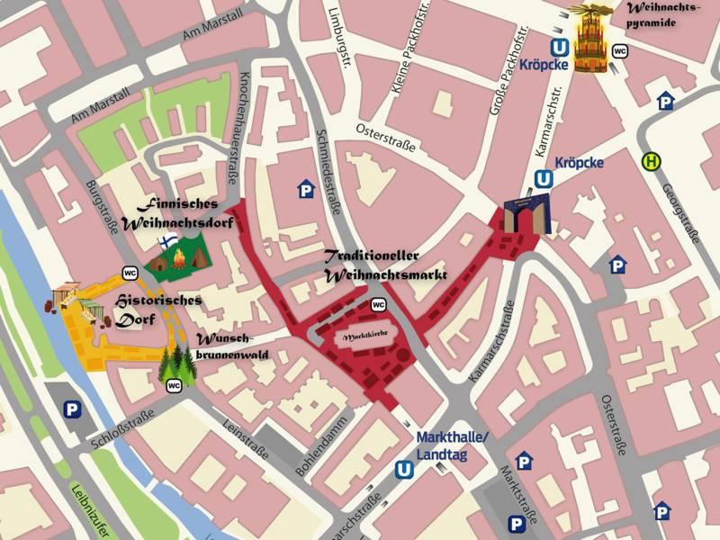 Kartenausschnitt von der Altstadt Hannovers, auf dem die verschiedenen Marktangebote farblich unterschiedlich gekennzeichnet sind: Von der Weihnachtsmarktpyramide am Kröpcke bis zum Historischen Dorf am Leineufer
