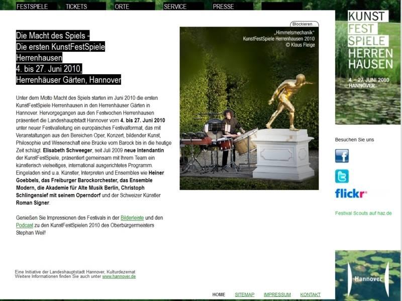 Website der KunstFestSpiele 2010