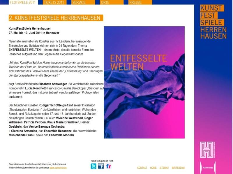 Website der KunstFestSpiele 2011