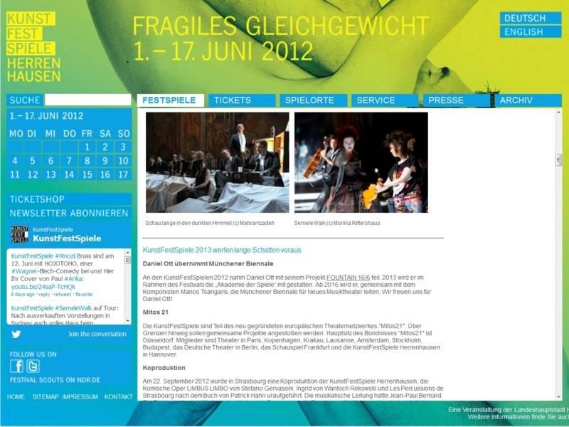 Website der KunstFestSpiele 2012