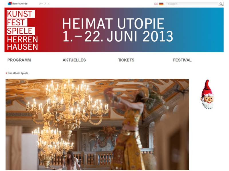 Website KunstFestSpiele Herrenhausen