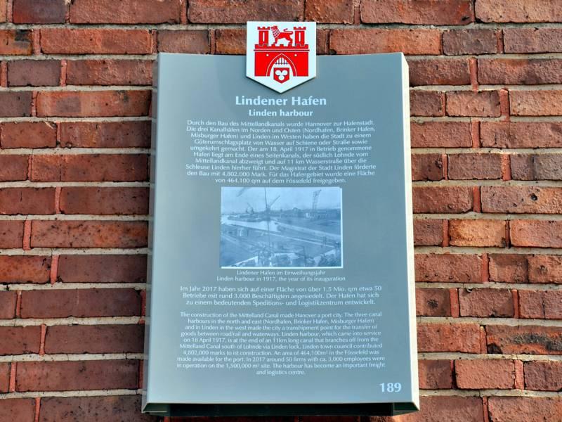 Stadttafel des Lindener Hafens