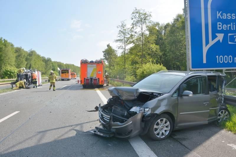 Sich den Rettungskräften darstellende Situation beim Eintreffen am Unfallort