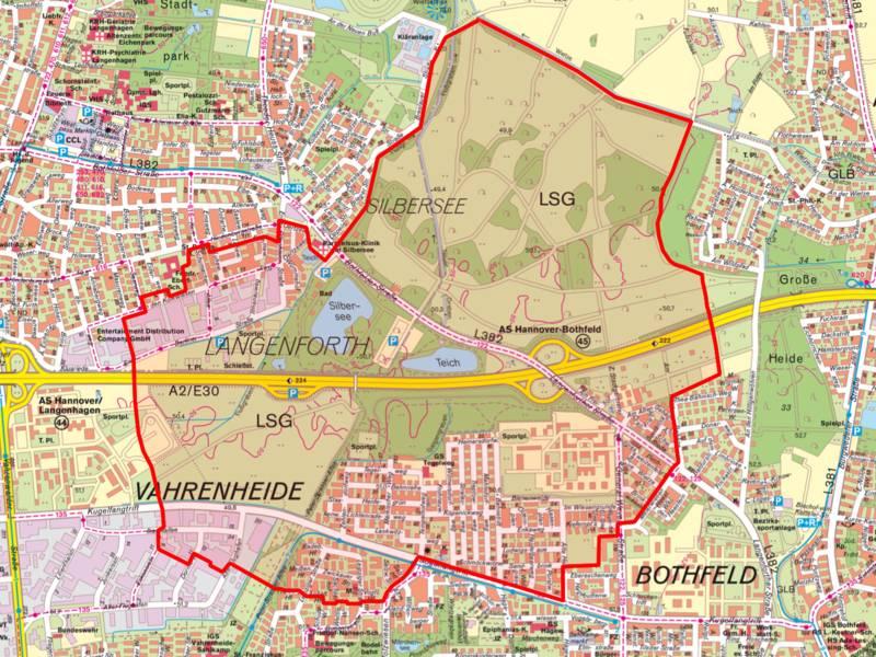 Kartenausschnitt mit dem Evakuierungsradius zu der Kampfmittelbeseitigung am 14.08.2016