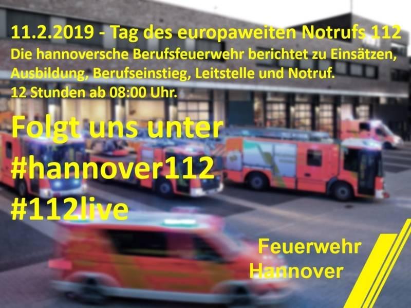 Einsätze, Ausbildung, Berufseinstieg, Leitstelle und Notruf. Morgen 11.2. ab 08:00 Uhr zwölf Stunden Berichterstattung und Hintergrundinformationen rund um die hannoverschen Brandschützer am Tag des europaweiten Notrufes. #hannover112, #112live.