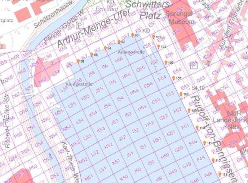 Auschnitt Maschsee Nordufer aus dem Kartenmaterial der Einsatzkräfte