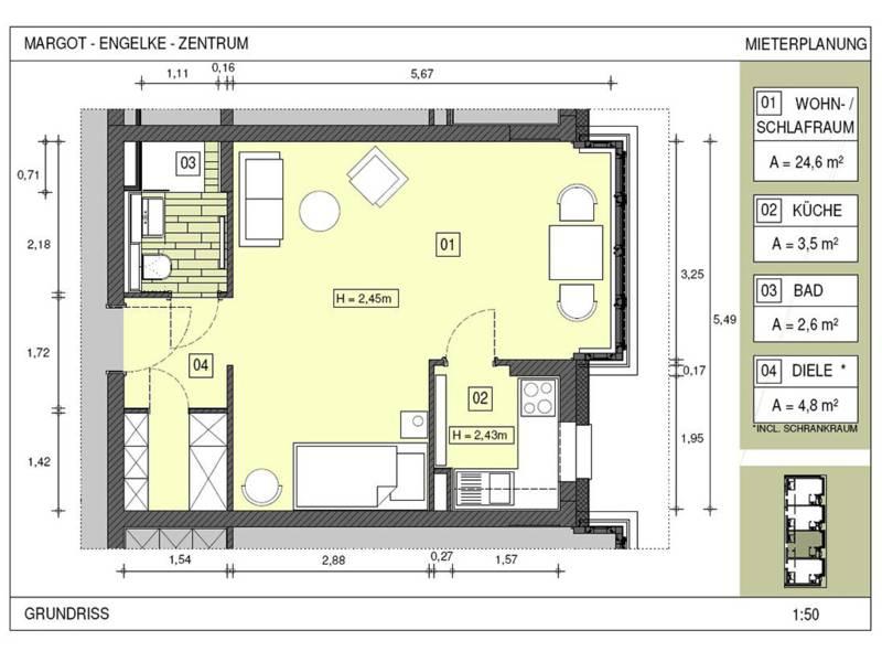 Grundriss eines Apartments Typ 3 im Margot-Engelke-Zentrum