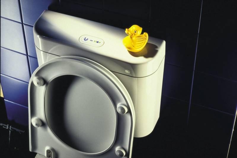 Hochgeklappter Toilettendeckel lehnt an Spülkasten, auf dem eine kleine, gelbe Plastikente als Dekoration sitzt