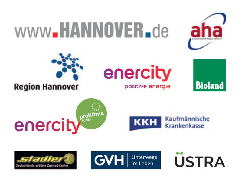 Logos der Sponsoren von Autofreier Sonntag 2018: aha, Bioland, enercity proKlima Fonds, enercity positive energie, GVH, KKH, Region Hannover, Stadler, Üstra, www.hannover.de