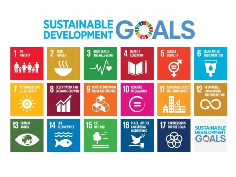 17 Piktogramme, die die globalen Nachhaltigkeitsziele der Vereinten Nationen darstellen