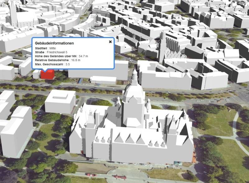 """Ansicht des digitalen 3D-Stadtmodelles """"Hannover 3D"""""""