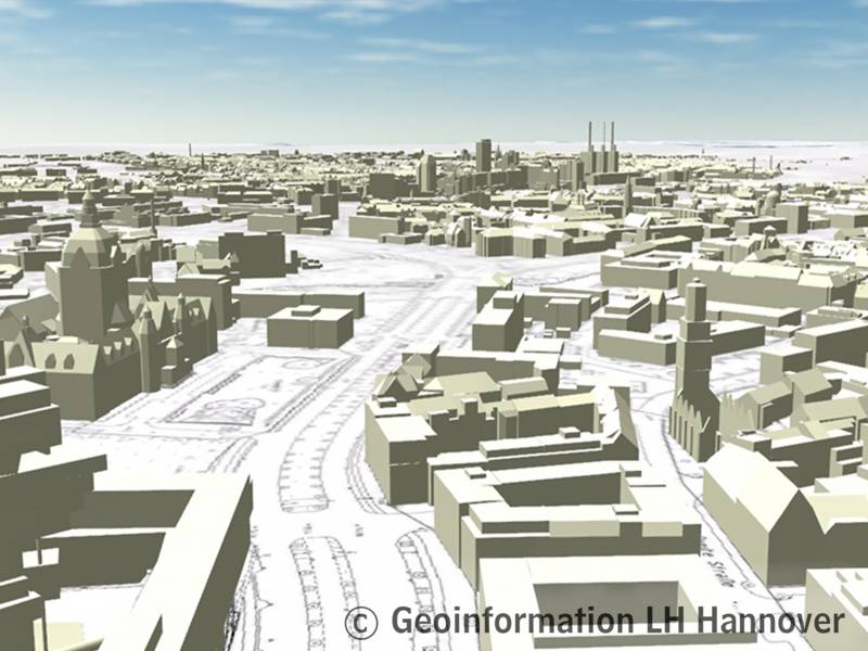 Digitales Stadtmodell - Gebäude mit generalisieren Dachformen