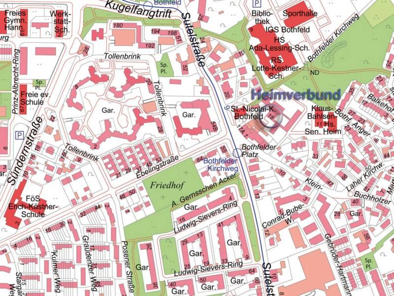 Darstellung des Heimverbundes in der Sutelstraße auf der Stadtkarte Hannovers