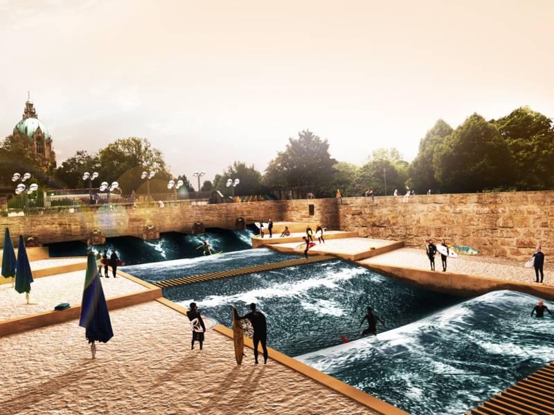 "Visualisierung des Projektes ""Leinewelle"" in Hannover."
