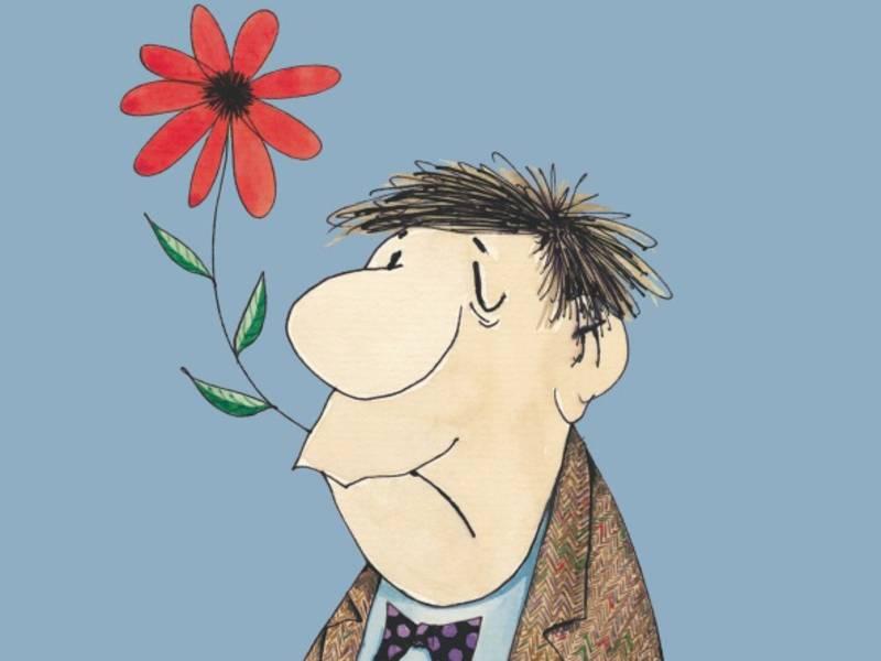 Zeichnung eines Mannes mit einer Blume in dem Mund.
