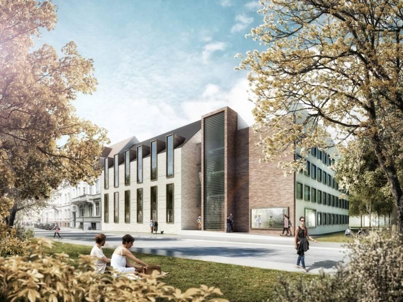 Designentwurf eines Gebäudes, im Vordergrund Menschen.