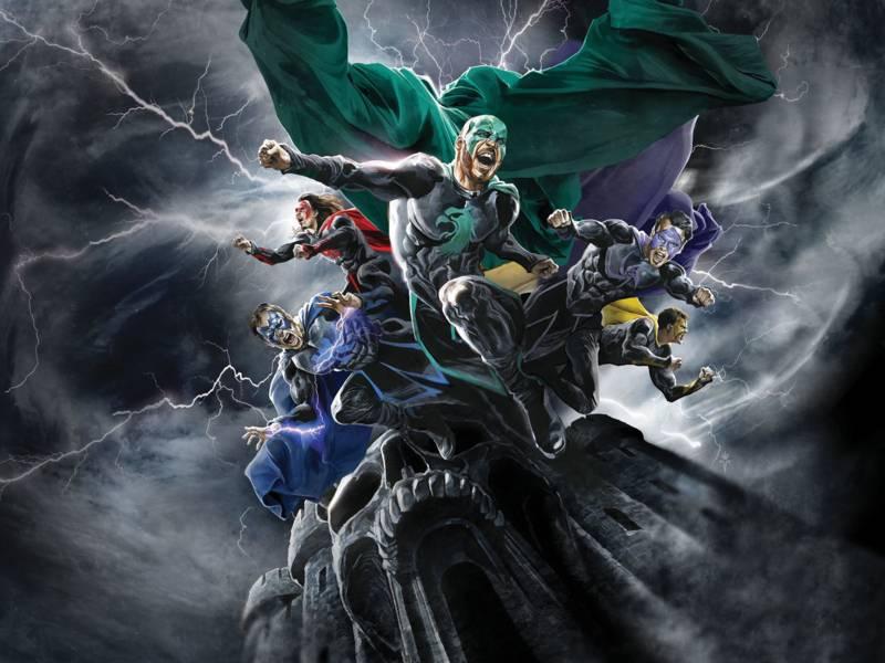 Fünf Männer in Superheldenkleidung schießen auf einem Felsen in düsterer Atmosphäre mit Blitzen.