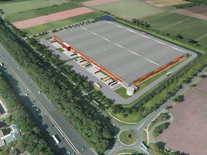 Computergrafik eines Logistikzentrums aus der Vogelperspektive.