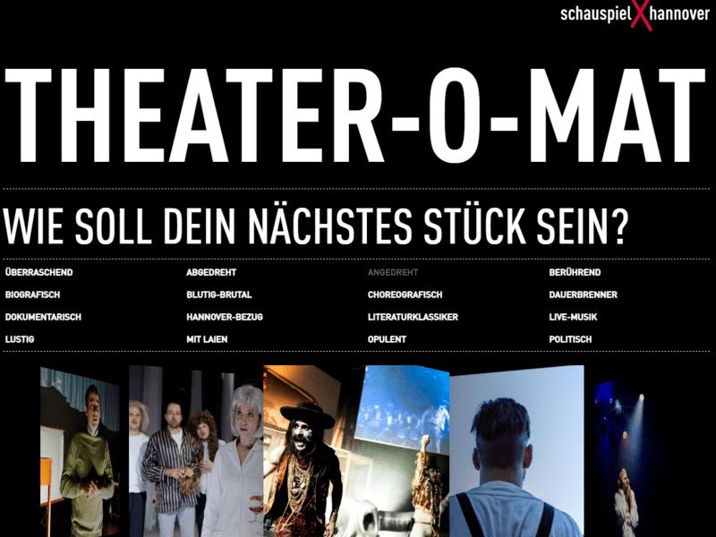 Ansicht einer Website mit Fragen und Theaterfotos