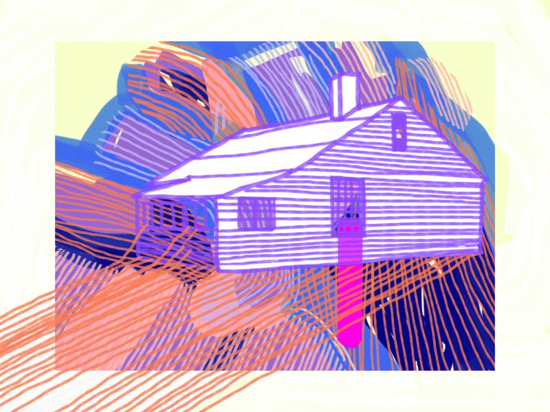 Ein mit Strichen gemaltes Haus
