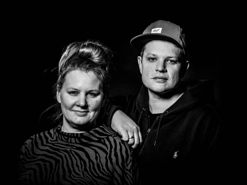 Schwarzweiß-Portrait von Mann und Frau