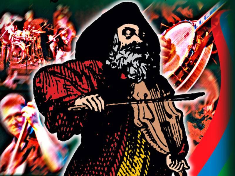 Ein gemaltes Bild mit Menschen, die Instrumente spielen