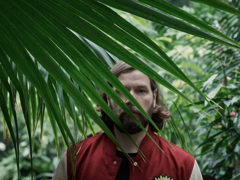 Mann hinter einem Palmenwedel