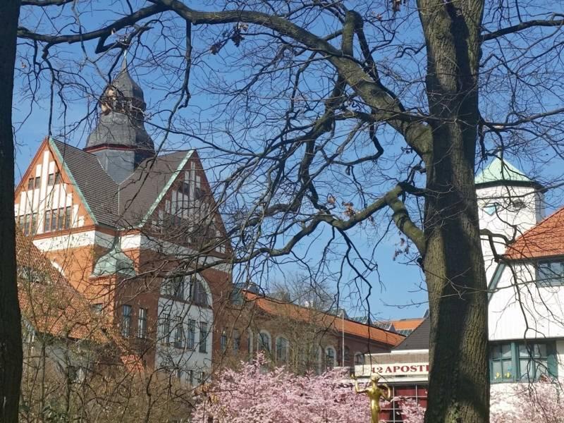 Gebäudekomplex mit blühenden Bäumen davor.