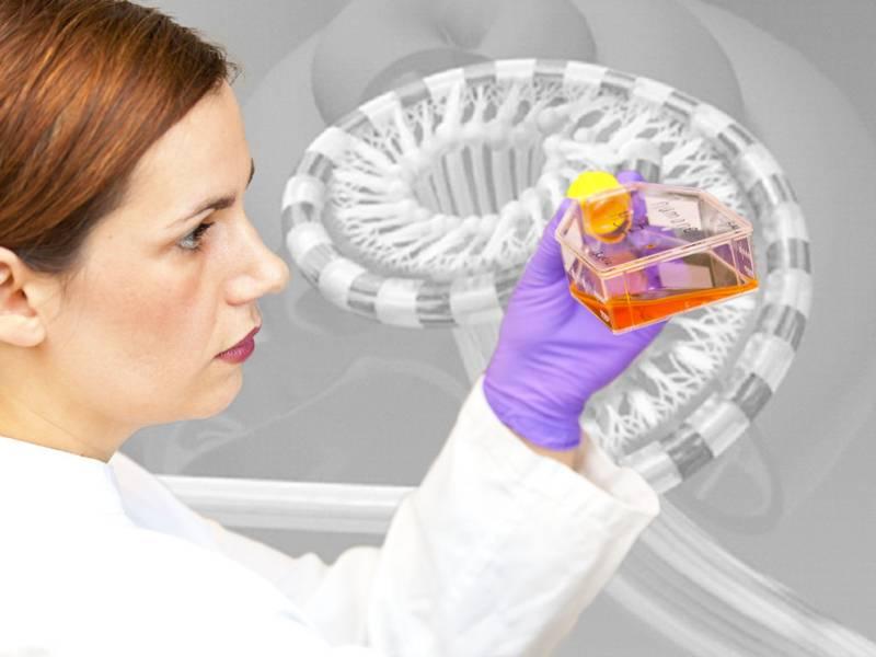 Frau mit weißem Kittel hält durchsichtigen Behälter mit farbiger Flüssigkeit in der Hand