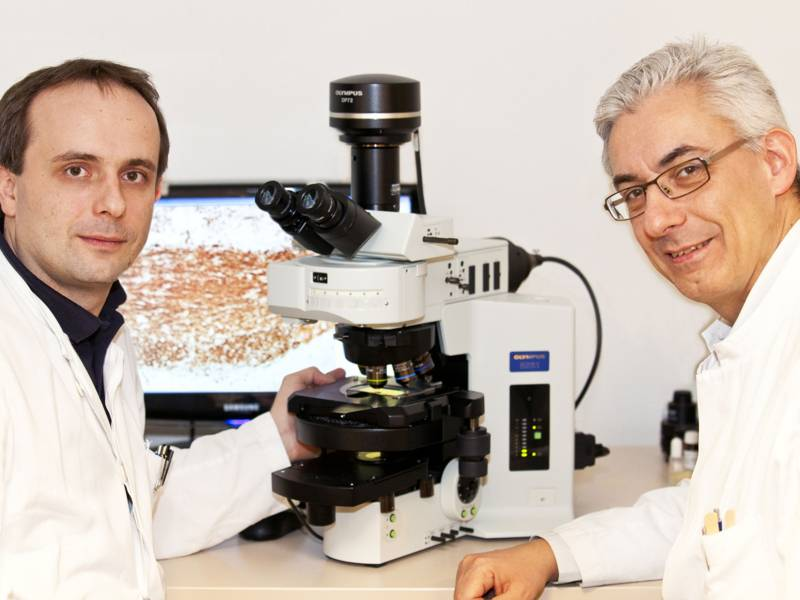 Zwei Wissenschaftler mit einem Elektronenmikroskop.