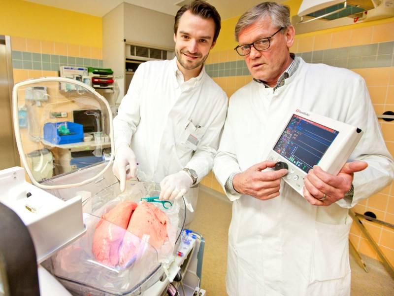 Zwei Männer in einem Labor mit einem Organ.