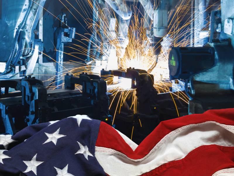 Amerikanische Flagge vor Maschinen