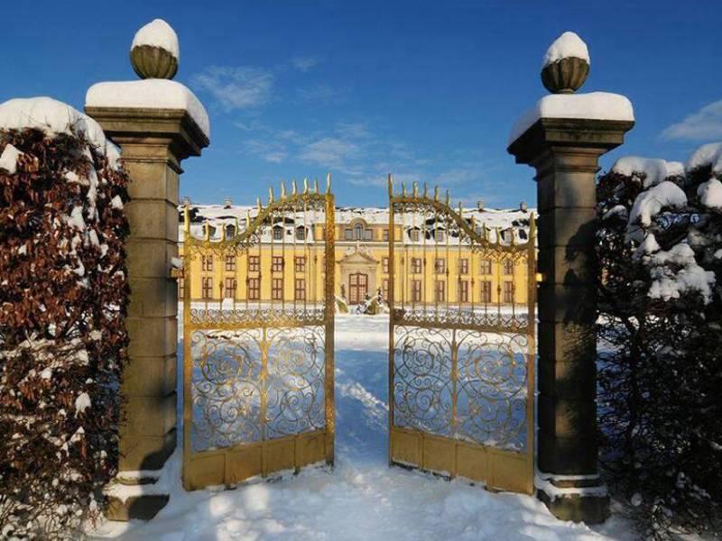 Ein Goldenes Tor, im Hintergrund ein Gebäude.